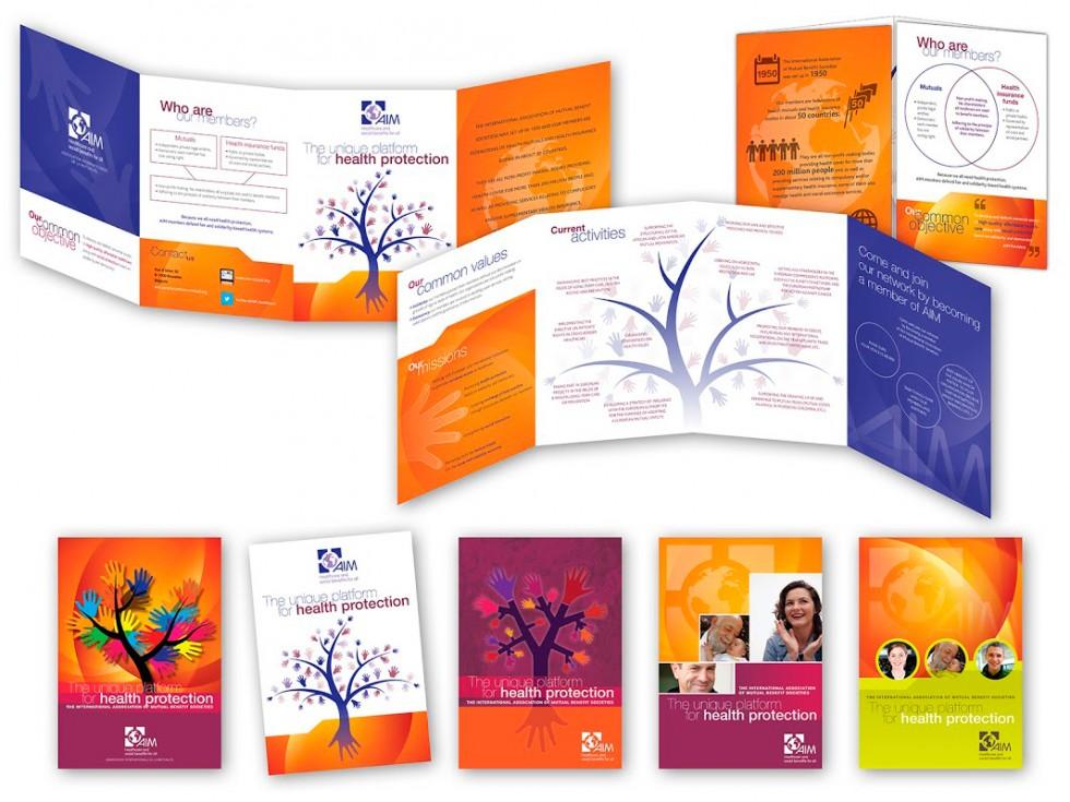Plaquette de présentation pour AIM (International Association of Mutual Benefit Societies).