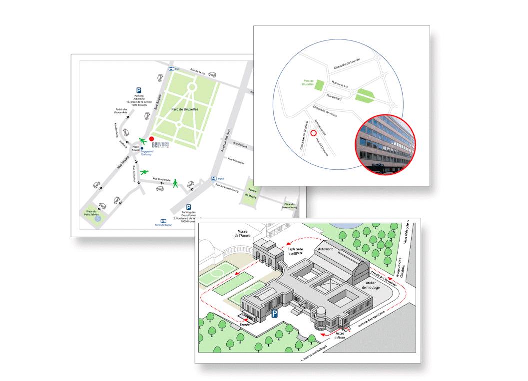 Plans de situation et plans d'accès.