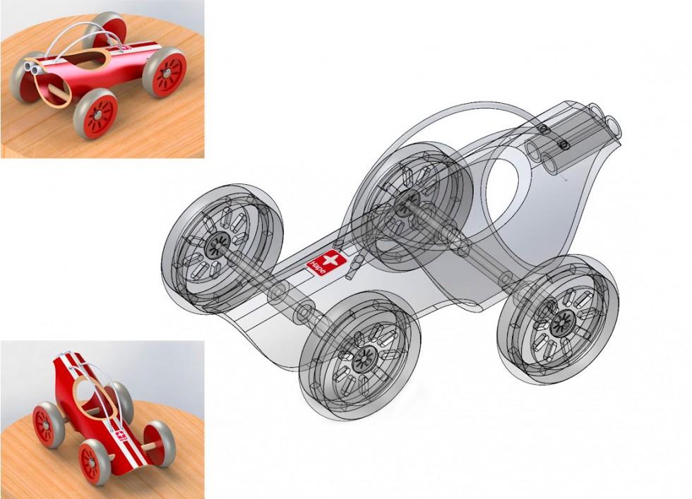Re-création d'un jouet en SolidWorks, d'après un modèle réel. Les deux images en couleurs sont des images de synthèse.