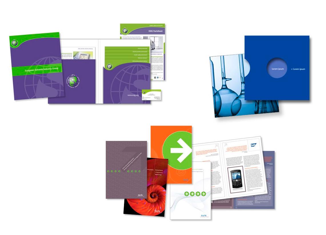 ESIG farde à rabats, CHIMIE pochette, EICTA brochures.