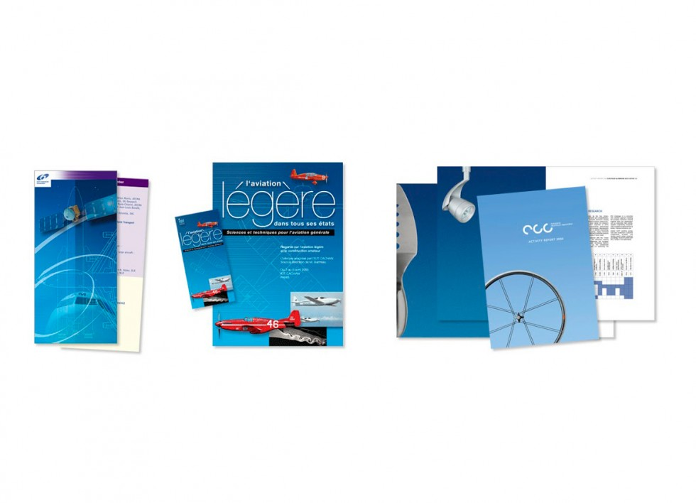 Dépliant pour un programme européen relatif à l'aviation et à l'espace. Dépliant et affiche pour un colloque de conception aéronautique. Brochure pour l'Association Européenne des producteurs d'aluminium.