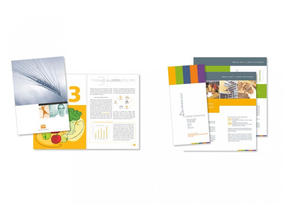 Brochure pour la sécurité alimentaire en Europe. Dépliant pour un l'association européenne des producteurs de laine minérale.