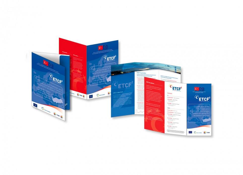 Farde à rabat et dépliants pour ETCF2, projet conjoint de l'Association Européenne des Chambres de Commerce et de l'Union des Chambres de Commerce et de Libre Echange de Turquie.