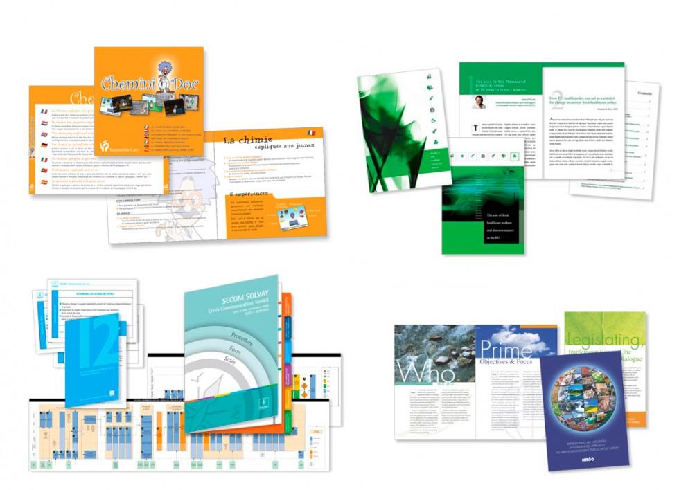 Habillage de DVD pour Solvay. Brochure pour Low Carbon Technologies. Crisis Guide pour SOLVAY. brochure pour la FEAD (Federation Européenne des Activités de la Dépollution et de l'Environnement).