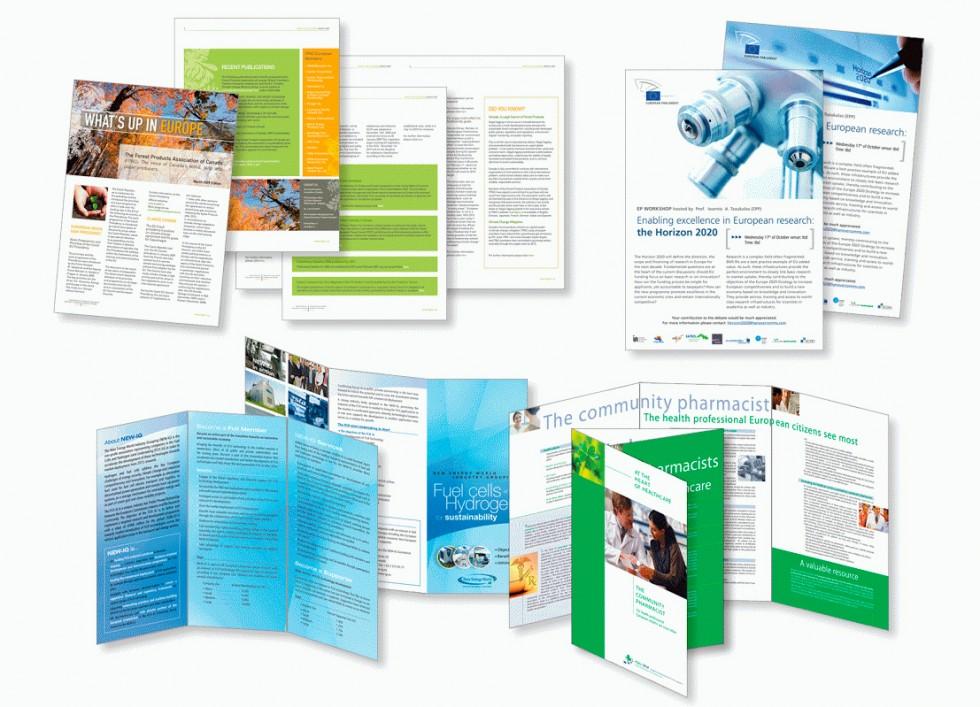 Newsletter. Annonces pour un projet européen relatif à la politique de recherche scientifique. Dépliant promotionnel pour les piles à combustibles. Dépliant pour l'association européenne des pharmaciens.
