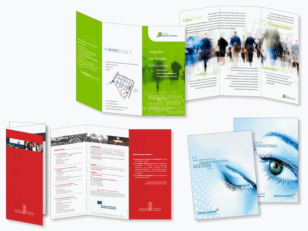 Dépliant pour Together for Health Innovation. Dépliant pour le Mouvement Européen. Annonces pour Digital Europe.