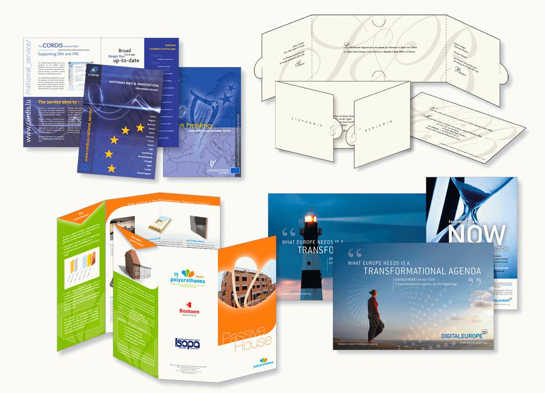 Brochure pour CORDIS (service communautaire d'information sur la recherche et le développement). Invitation de mariage. Dépliant pour un producteur de matériaux isolants. Annonces pour l'association représentant l'industrie des technologies numériques en Europe.