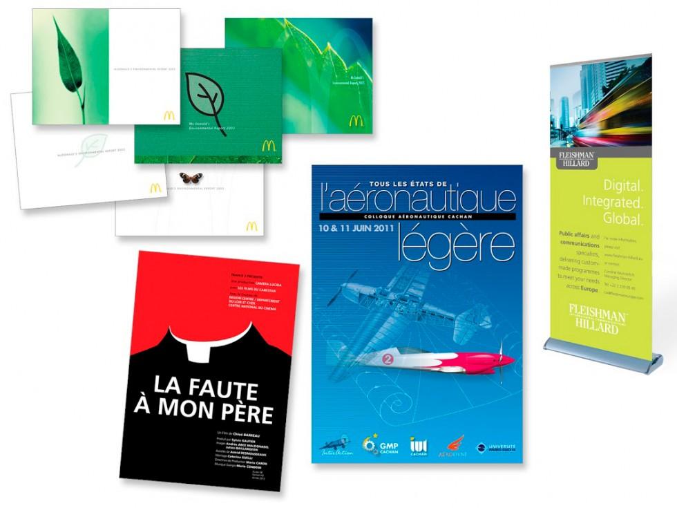 Concepts et visuels pour un projet relatif à la durabilité pour McDonalds, affiche de film, affiche pour un colloque aéronautique et rollup pour un spécialiste en affaires publiques.