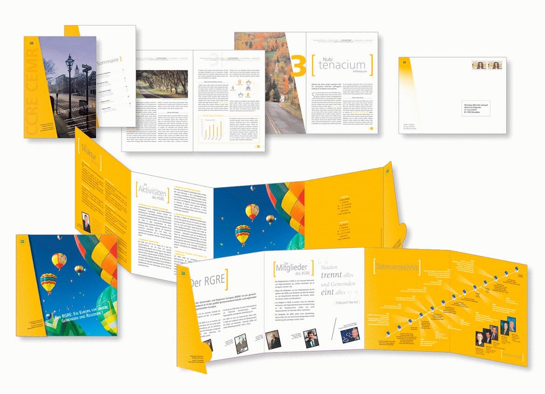 Dépliant, brochure et papeterie pour la Communauté des Communes et Régions d'Europe. Réalisation du guide-line.