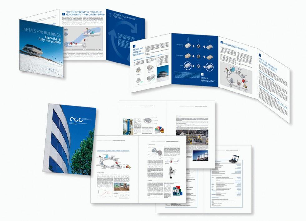 """Plaquette pour """"Metals for Buildings"""" et brochure pour l'European Aluminium Association."""