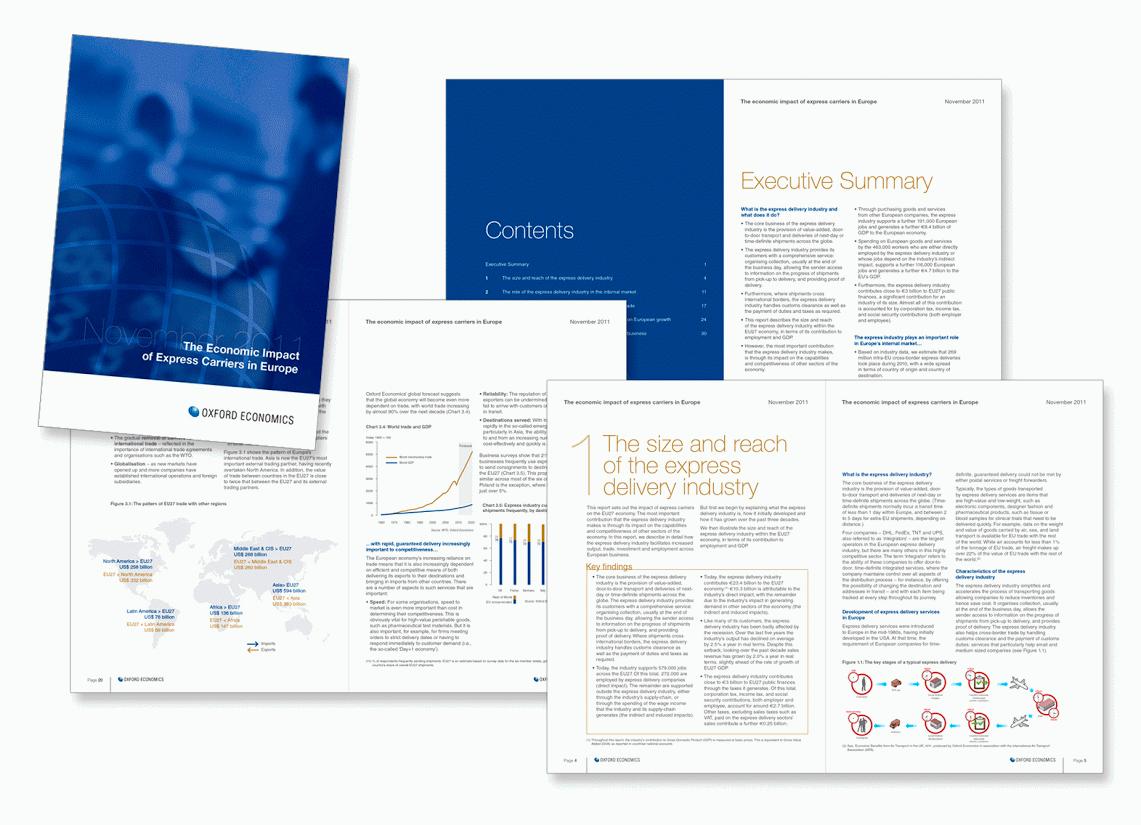 Brochure pour Oxford Economics, cabinet indépendant en prévisions économiques et en études quantitatives.