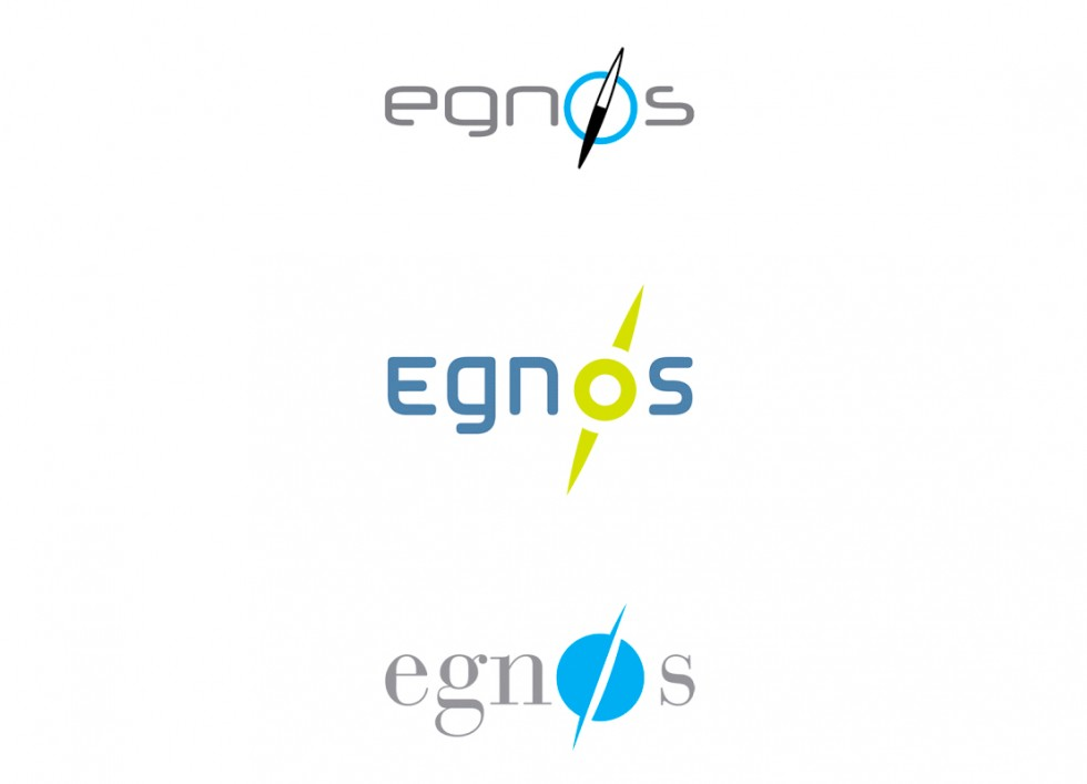 Proposition de logo pour le service EGNOS (European Geostationary Navigation Overlay Service), soit Service Européen de Navigation par Recouvrement Géostationnaire.