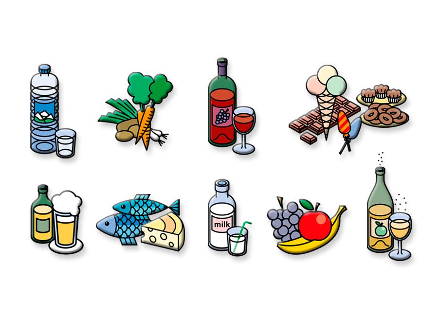 Illustrations vectorielles isométriques pour l'industrie alimentaire.
