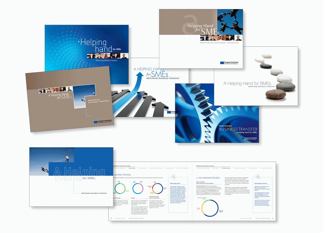"""Proposition de couvertures et brochure pour """"A Helping Hand for SMEs – Mentoring Business Transfer"""" , une programme organisé par l'Association Européenne des Chambres de Commerce et d'Industrie."""