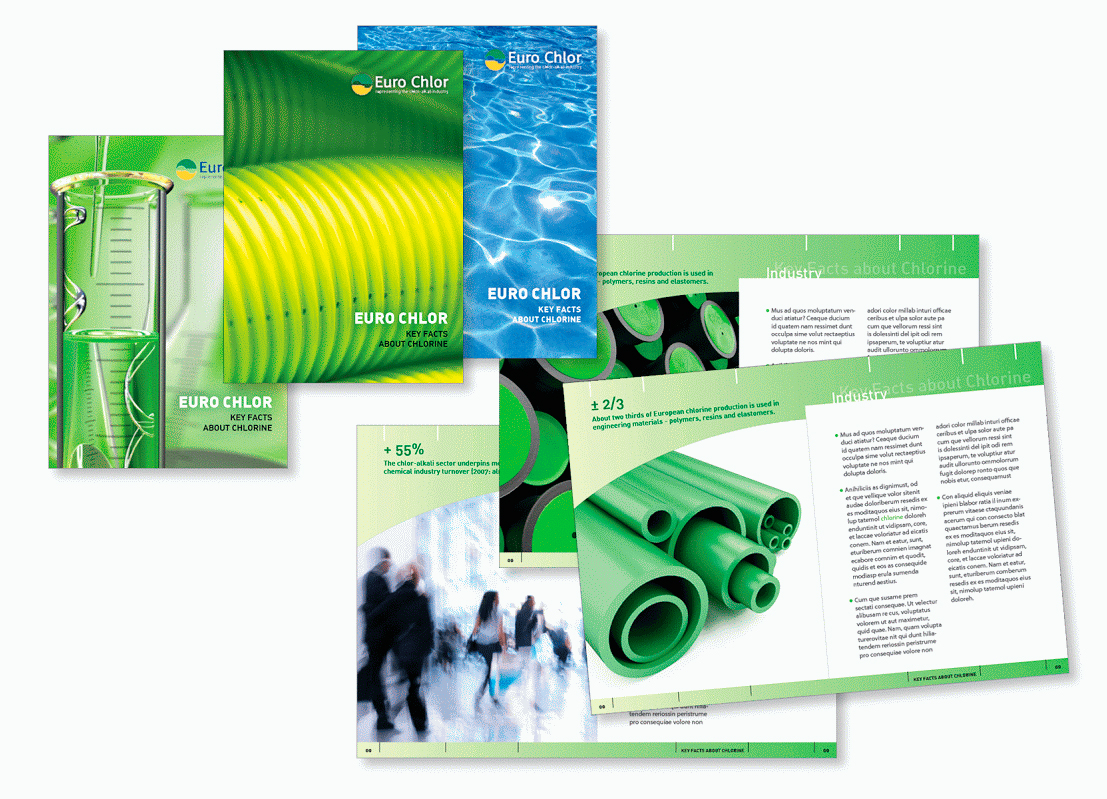 Brochure pour Eurochlor, l'association représentant les intérêts des producteurs de chlore en Europe.