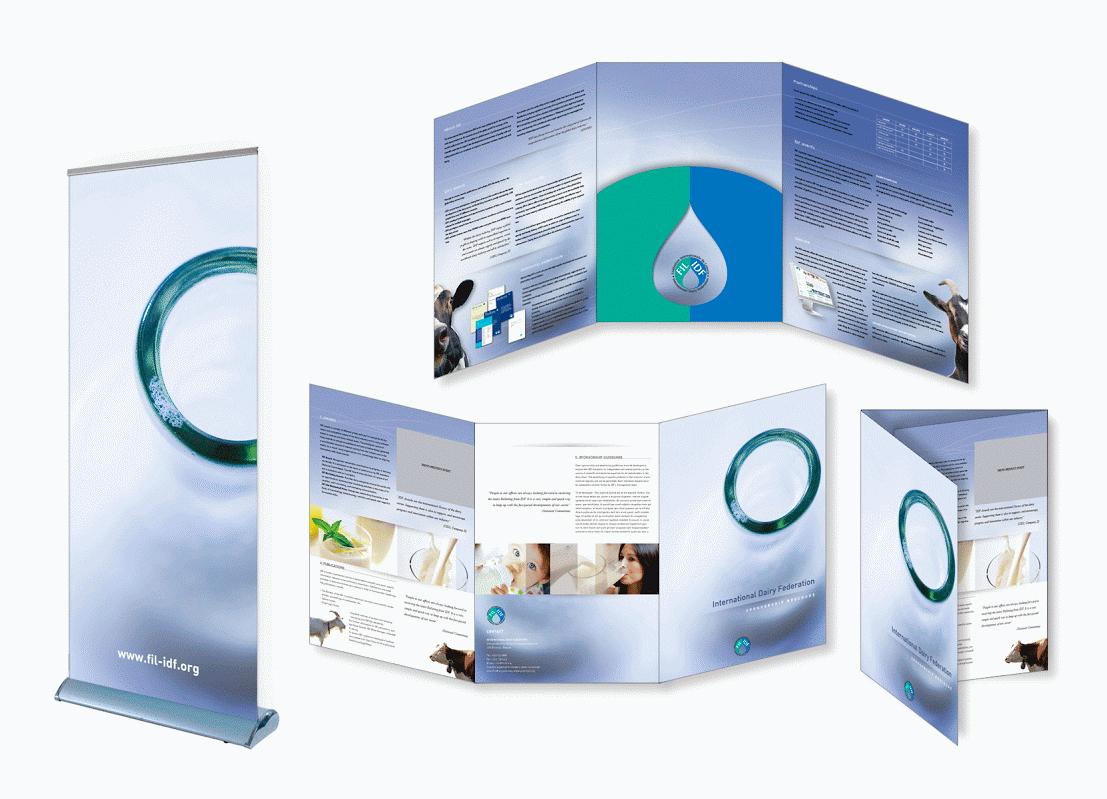 Brochures et supports publicitaires pour IDF (International Dairy Federation).