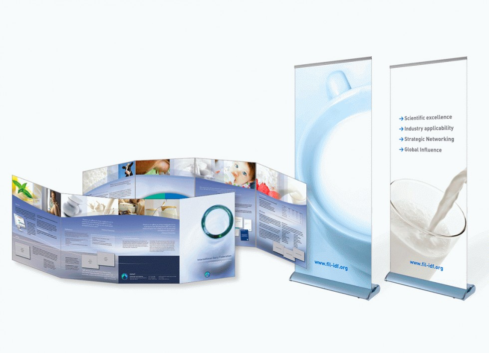 Brochures et supports publicitaires pour IDF (International Dairy Federation).