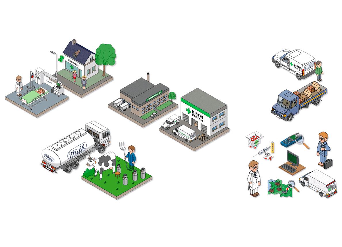 Illustrations vectorielles isométriques pour l'industrie pharmaceutique.