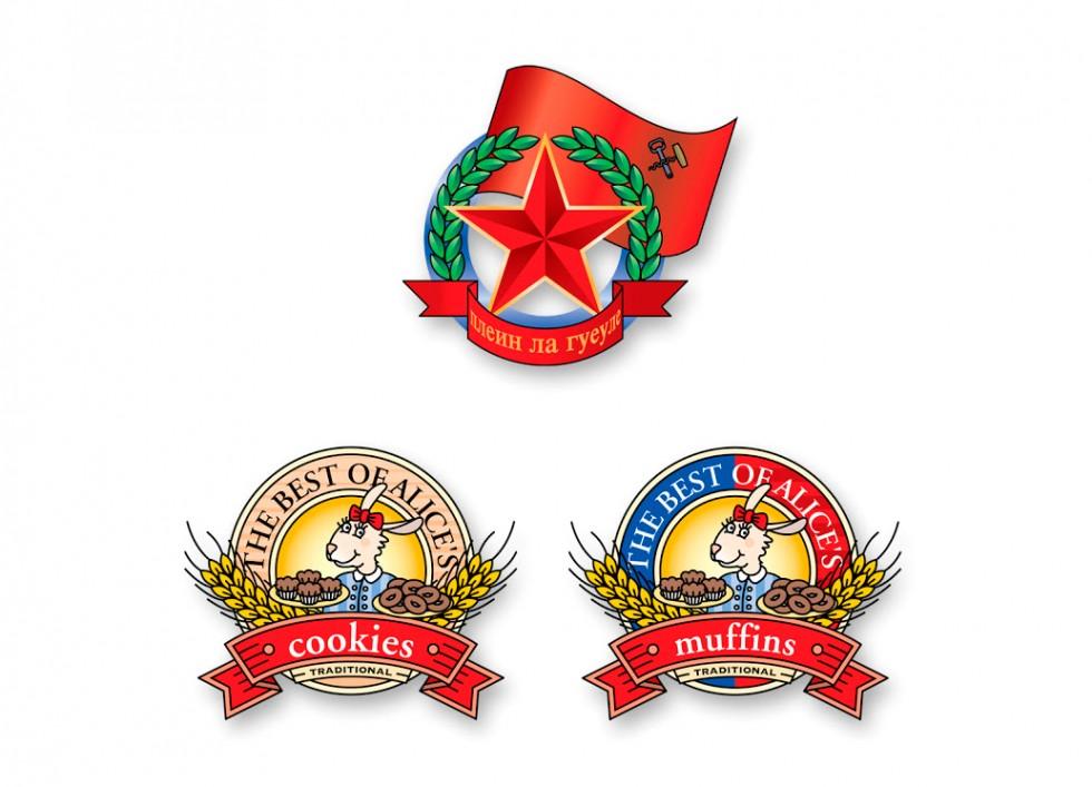 Emblême façon soviétique pour une marque d'alcool et étiquettes pour un fabricant de cookies et de pâtisseries.