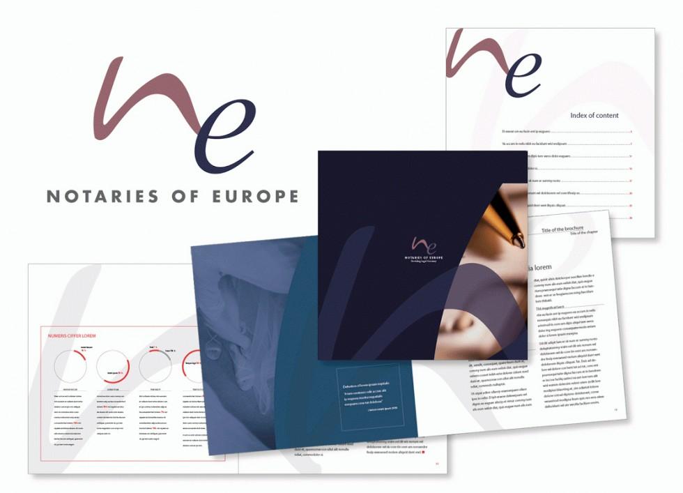 Exemple d'application d'une propositionde logo pour l'association européenne des notaires.