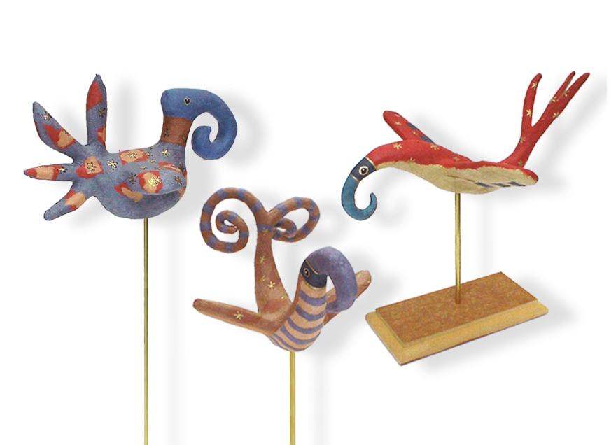 Sculpture en pâte à bois, recouvertes de papier Japon.