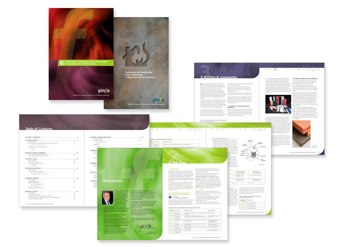Brochures pour PINFA, l'association européenne des retardateurs de flamme.
