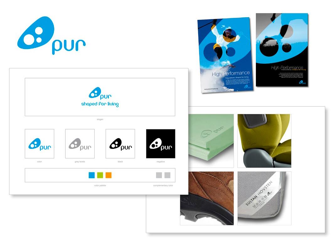 Logo, déclinaisons et simulations d'utilisation pour une association européenne de producteurs de mousse polyuréthane.