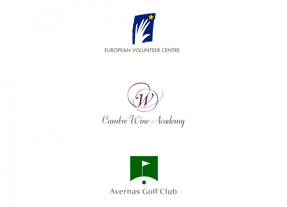 Logo pour European Volunteer Center, Cambre Wine Academy et le Avernas Golf Club.