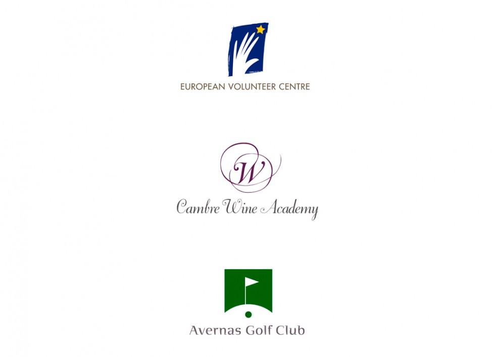 Logo pour European Volunteer Center, Cambre Wine Academy et le Avernas Golf Club.