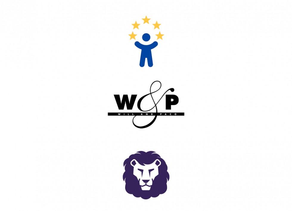 Logos pour une association européenne, une griffe de vêtements et une simplification d'un logo existant (St Johns School).