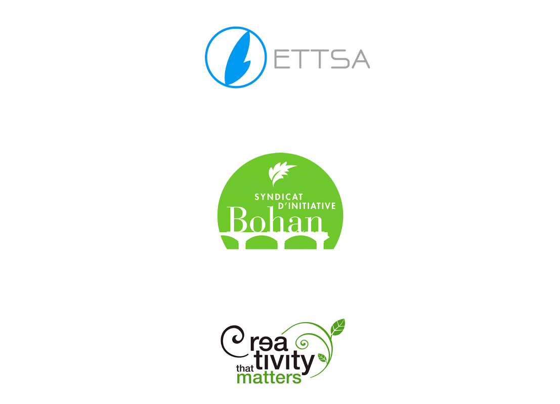 Logo pour la European Technology and Travel Services Association (ETTSA) , le syndicat d'initiative du village de Bohan et pour un label de qualité pour le fabricant de périphériques Epson.
