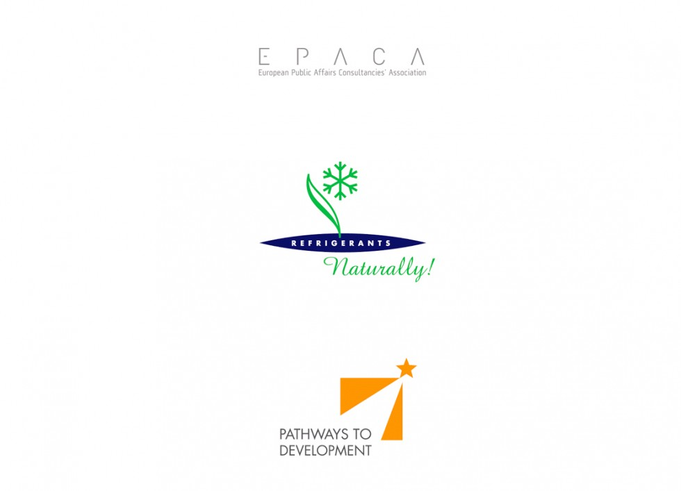 Logo pour la European Public Affairs Consultancies' Association, une initiative de grandes sociétés de l'industrie alimentaire contre le réchauffement climatique et le projet Pathways to Development.
