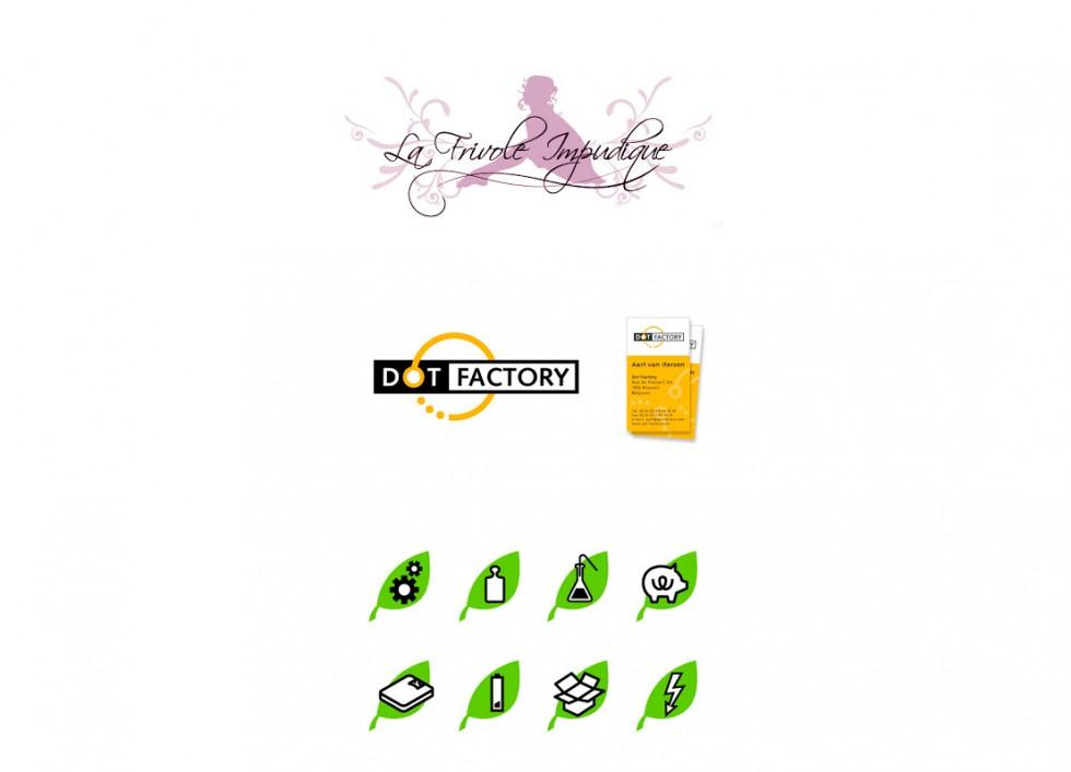 Logo pour un love-shop, un consultant en site web et quelques pictogrammes pour l'industrie chimique.