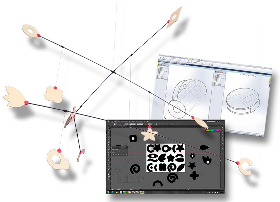 Connectique en impression 3D, découpe des pièces en balsa au laser.