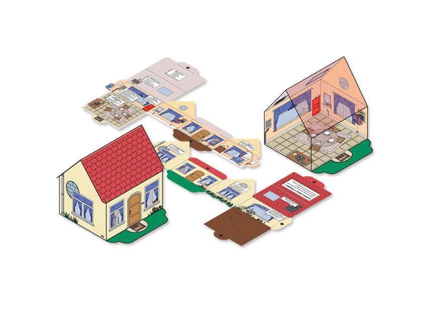 Maison en carton, à monter soi-même sans colle (par emboitements) pour BASF, montrant l'application des différents produits de la marque dans la vie courante et les habitations.
