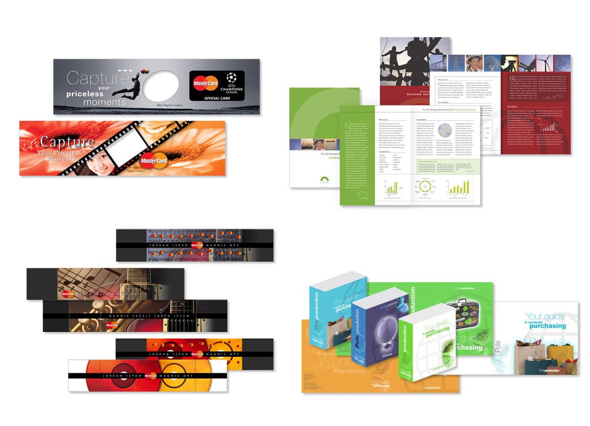 MASTER CARD: habillage d'un packaging d'un appareil photo et d'articles cadeaux; EU-GEORGIA: brochure; POLE POSITION: packaging pour un logiciel.