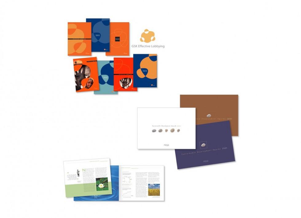 Développement d'un logo pour un département de GSK, avec des simulations d'applications; Brochure relative à l'octroi de torphées de durabilité pour UEPG (Union Européenne des Producteurs de Granulats); Brochure pour l'industrie alimentaire.