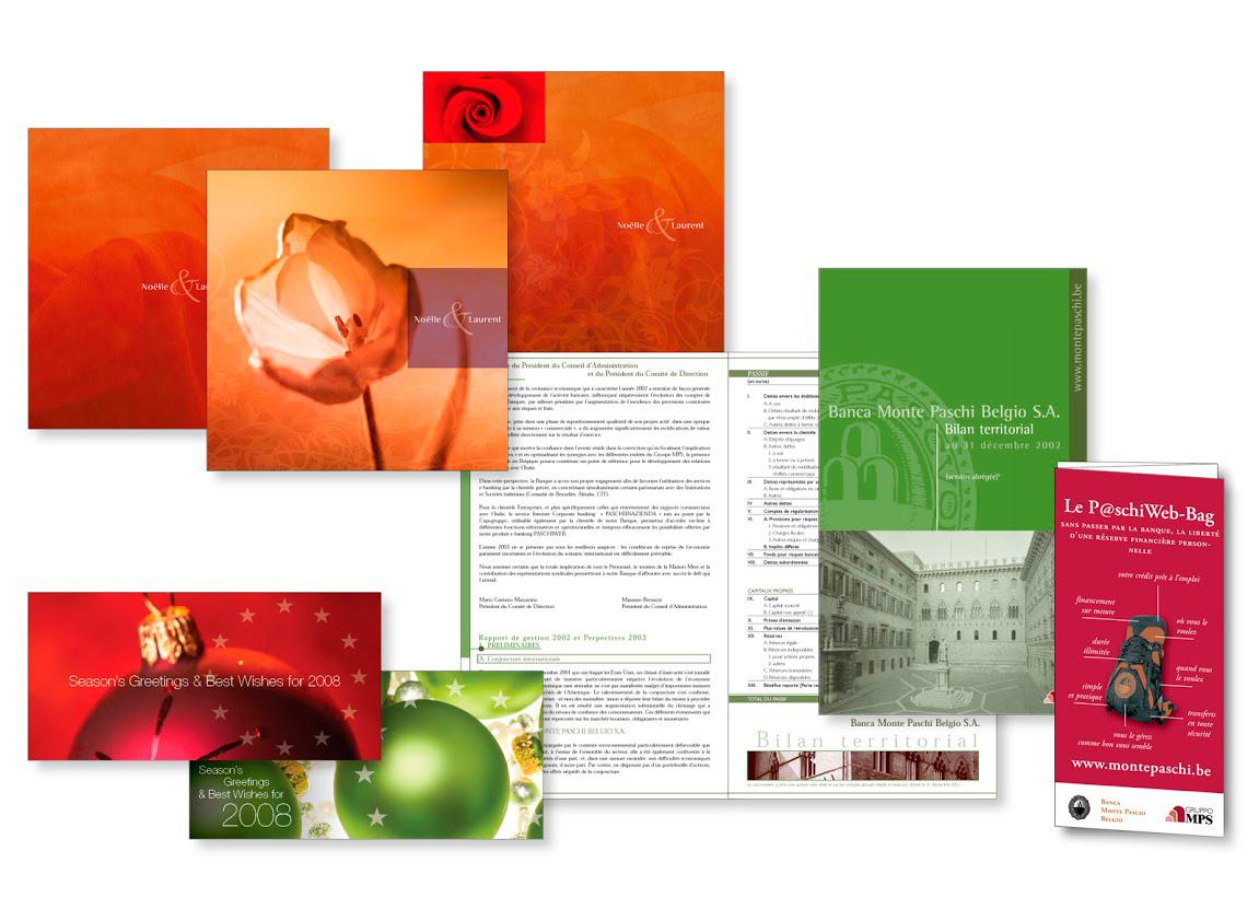 Invitation de mariage, carte de voeux, brochureet dépliant pour la banque d'affaires Monte Paschi.