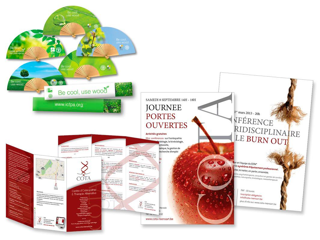 Objet publicitaire pour ICPFA. Dépliants et affiches pour un groupement de thérapeutes.