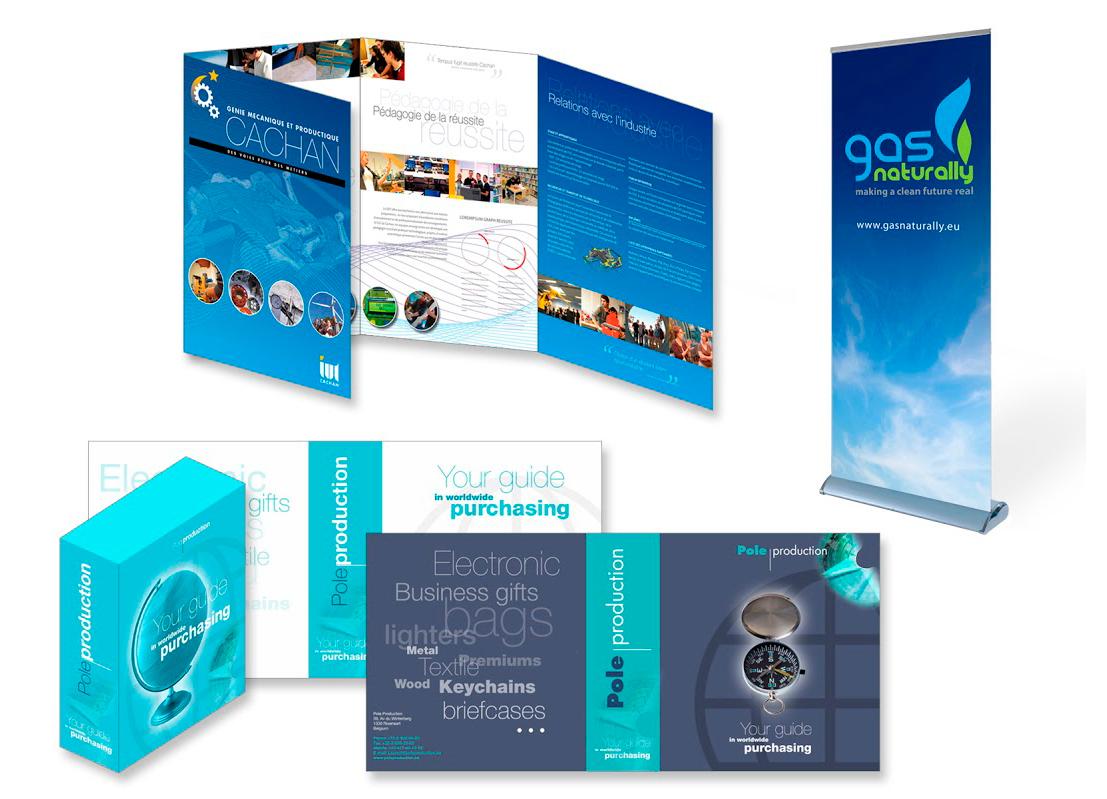 Plaquette pour l'IUT Cachan de Paris, rollup pour la promotion du gaz naturelet packaging pour un guide électronique.