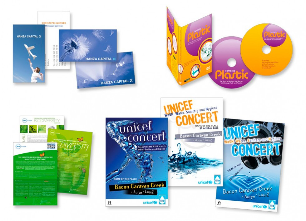 cartes de visite, habillage DVD et affiches pour différents clients.