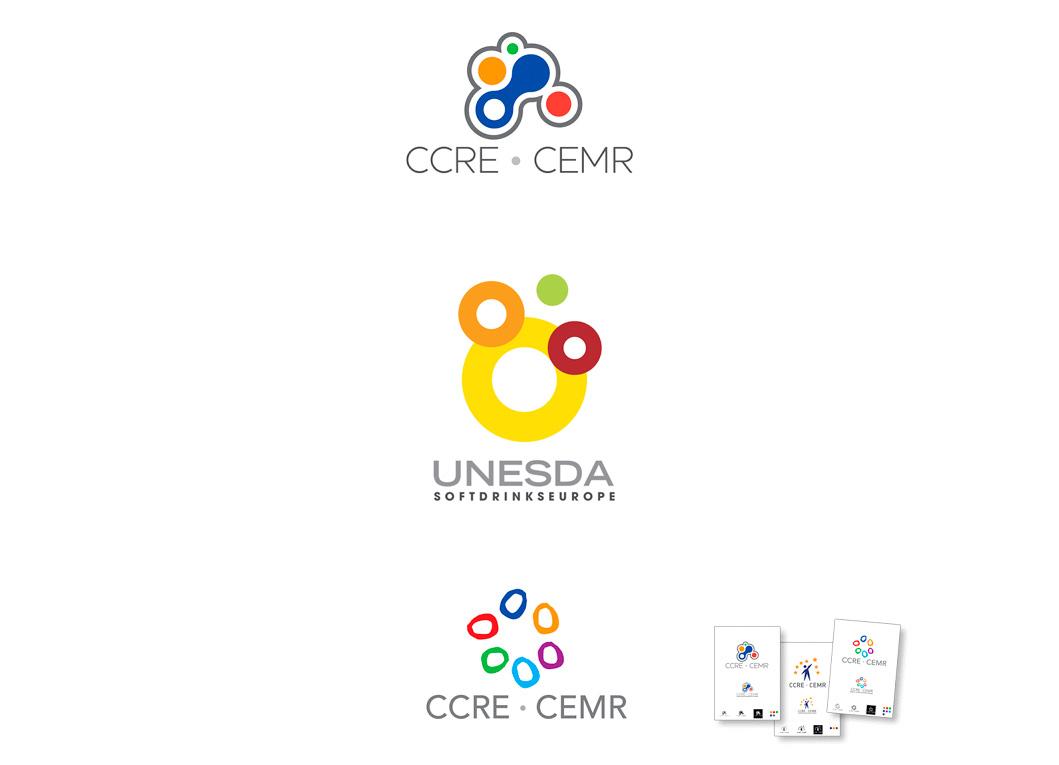 Propositions de logo pour le Conseil des Communes et des Régions d'Europe (CCRE). Proposition de logo pour UNESDA (Union of European Soft Drinks Associations).