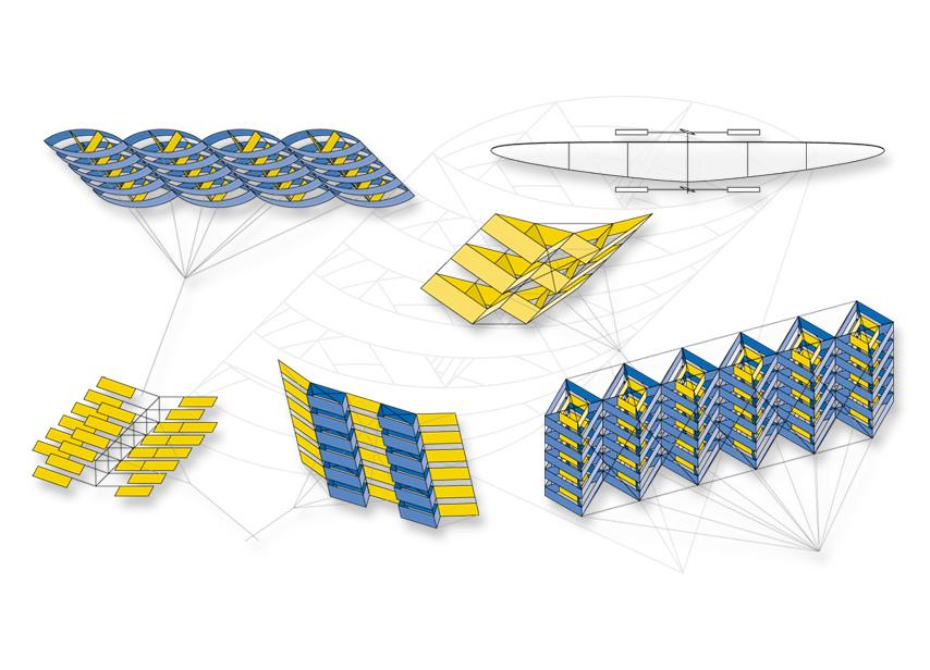 Projets de cerfs-volants structuraux monofils. Dessins en Adobe Illustrator.