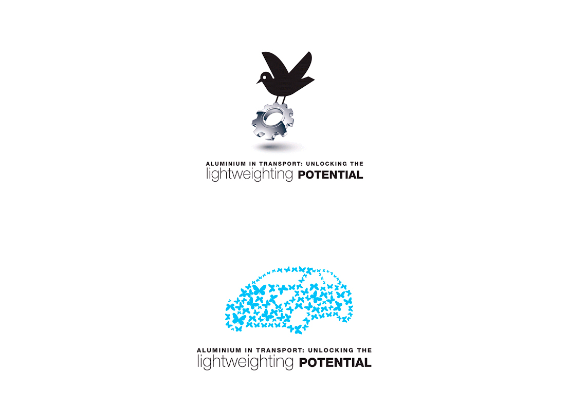 "Proposition de logo pour l'initiative ""Unlocking the Lightweighting Potential"" de l'Association Européenne des producteurs d'Aluminium."