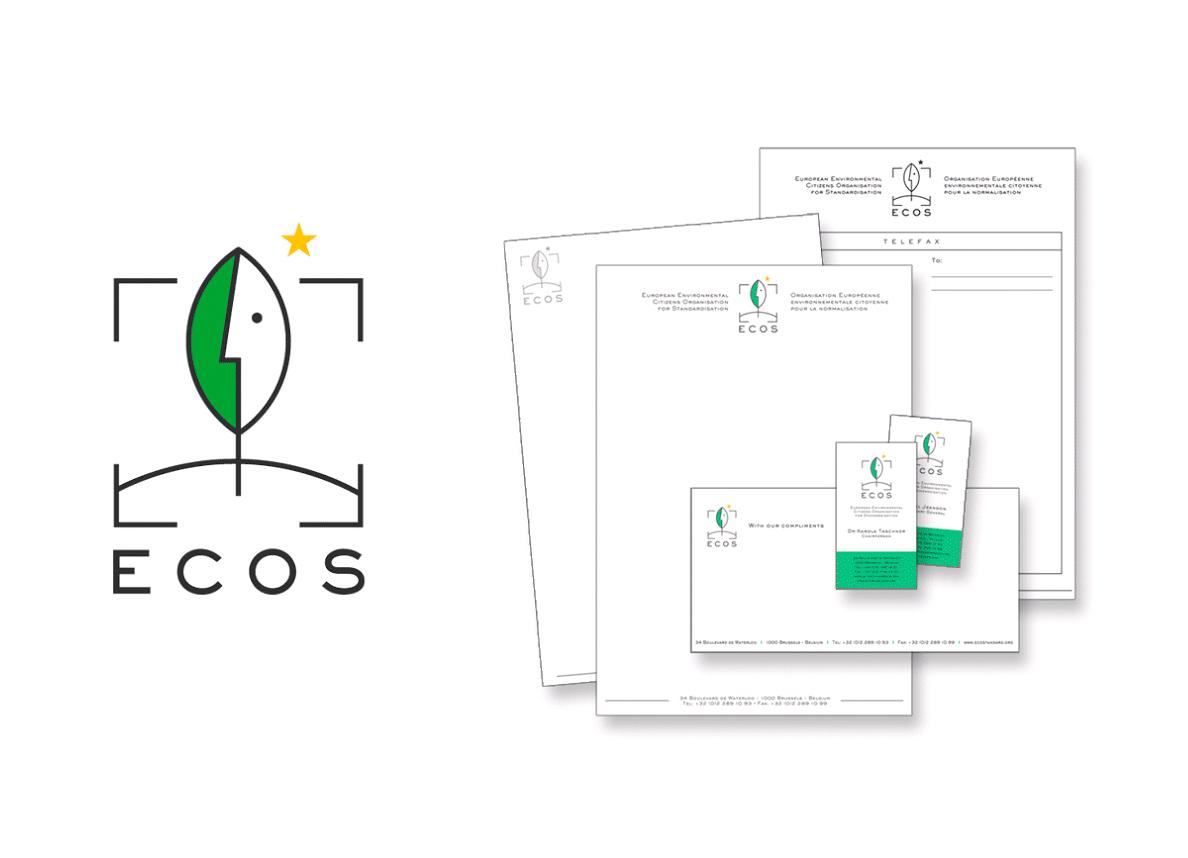 Logo et papeterie pour ECOS, the European Environmental Citizens' Organisation for Standardisation.