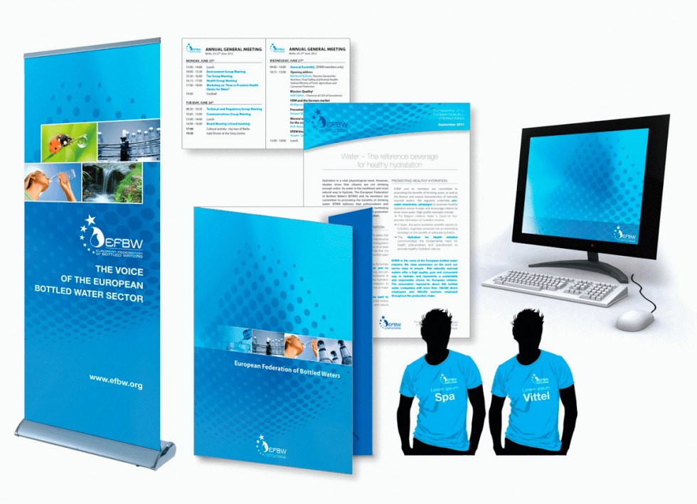Newsletter, brochures, programmes, farde à rabats, rollups et autres supports de communication pour EFBW (European Federation of Bottled Waters).