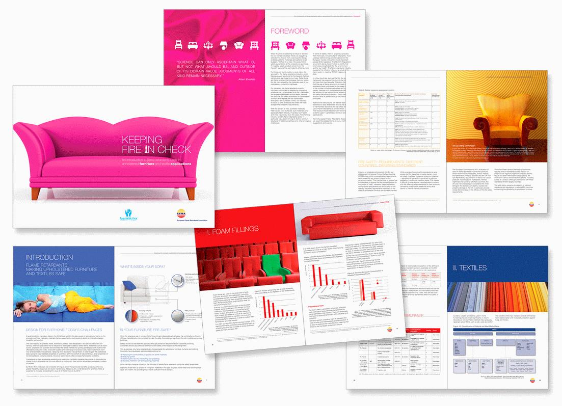Brochure pour EFRA (Association Européenne des Retardateurs de Flamme - European Flame Retardants Association).