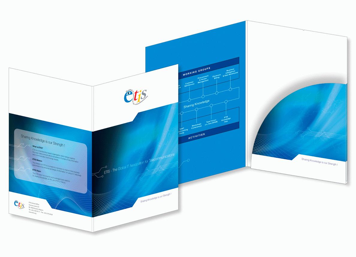 Farde à rabats pour ETIS (IT Association for Telecommunications).