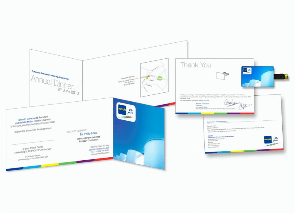 Carton d'invitation pour EUROPIA, la représentation de l'industrie pétrolière auprès de l'Union européenne.