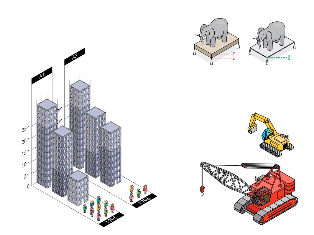 Différentes illustrations vectorielles isométriques, pour différentes publications.